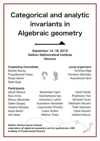 Categorical and analytic invariants in Algebraic geometry 1